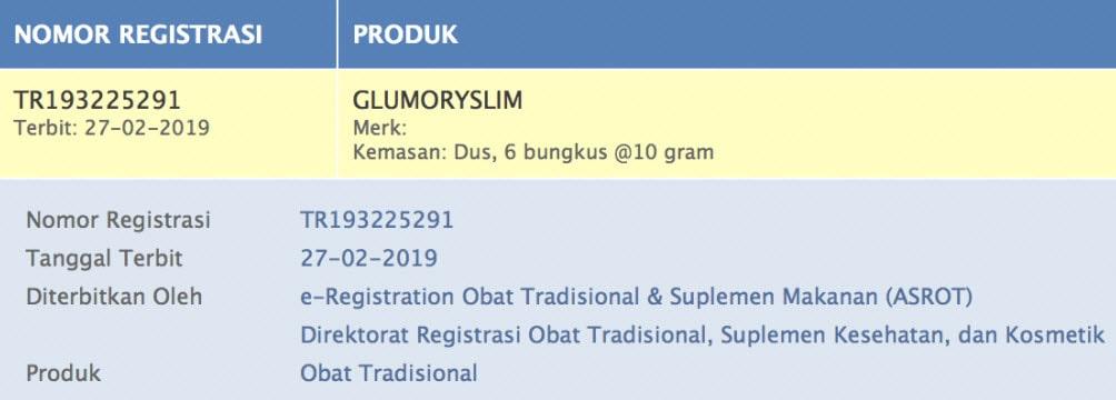 Glumory Slim BPOM