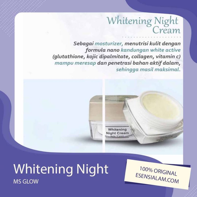 Night Cream / Krim Malam Ms Glow, Acne, Whitening, Luminous √